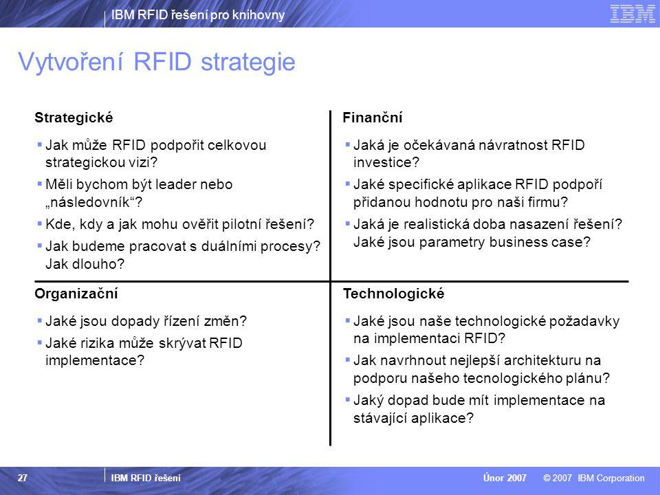 IBM RFID řešení pro knihovny IBM RFID řešení © 2007 IBM CorporationÚnor 2007 27 Strategické  Jak může RFID podpořit celkovou strategickou vizi?  Měl