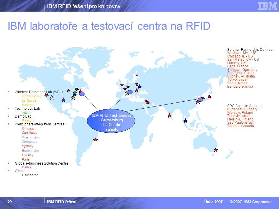 IBM RFID řešení pro knihovny IBM RFID řešení © 2007 IBM CorporationÚnor 2007 29 IBM laboratoře a testovací centra na RFID  Wireless Enterprise Lab (W