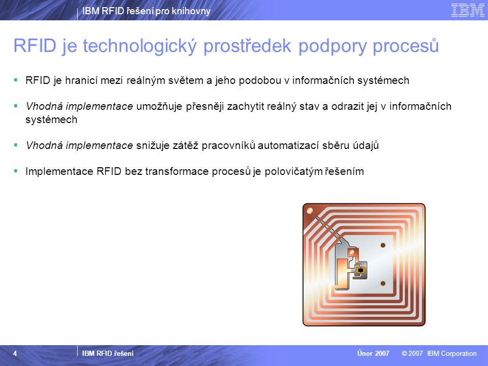 IBM RFID řešení pro knihovny IBM RFID řešení © 2007 IBM CorporationÚnor 2007 4 RFID je technologický prostředek podpory procesů  RFID je hranicí mezi reálným světem a jeho podobou v informačních systémech  Vhodná implementace umožňuje přesněji zachytit reálný stav a odrazit jej v informačních systémech  Vhodná implementace snižuje zátěž pracovníků automatizací sběru údajů  Implementace RFID bez transformace procesů je polovičatým řešením