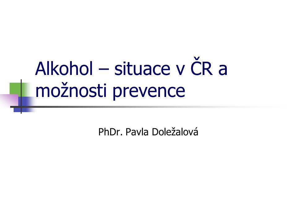 Evropská školní studie o alkoholu a jiných drogách ESPAD  Jakoukoliv zkušenost s pitím alkoholu má v ČR 98 % respondentů průzkumu.