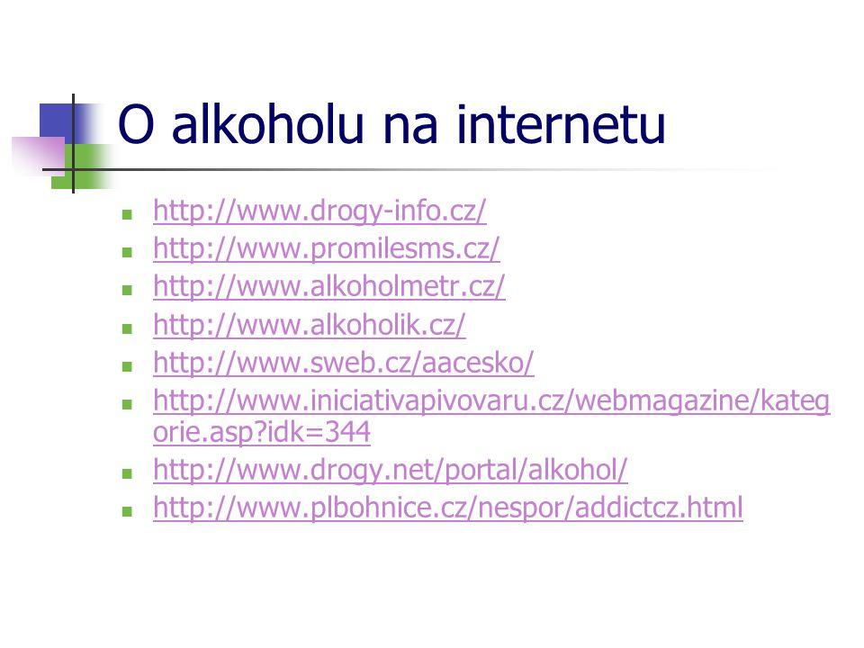 O alkoholu na internetu  http://www.drogy-info.cz/ http://www.drogy-info.cz/  http://www.promilesms.cz/ http://www.promilesms.cz/  http://www.alkoholmetr.cz/ http://www.alkoholmetr.cz/  http://www.alkoholik.cz/ http://www.alkoholik.cz/  http://www.sweb.cz/aacesko/ http://www.sweb.cz/aacesko/  http://www.iniciativapivovaru.cz/webmagazine/kateg orie.asp?idk=344 http://www.iniciativapivovaru.cz/webmagazine/kateg orie.asp?idk=344  http://www.drogy.net/portal/alkohol/ http://www.drogy.net/portal/alkohol/  http://www.plbohnice.cz/nespor/addictcz.html http://www.plbohnice.cz/nespor/addictcz.html