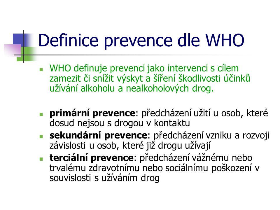 Definice prevence dle WHO  WHO definuje prevenci jako intervenci s cílem zamezit či snížit výskyt a šíření škodlivosti účinků užívání alkoholu a nealkoholových drog.