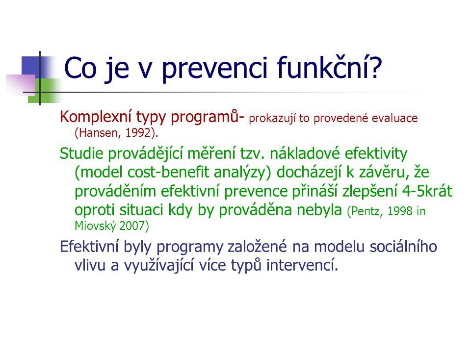 Co je v prevenci funkční.Komplexní typy programů- prokazují to provedené evaluace (Hansen, 1992).