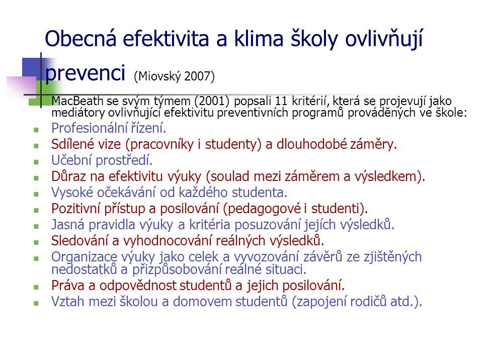 Obecná efektivita a klima školy ovlivňují prevenci (Miovský 2007)  MacBeath se svým týmem (2001) popsali 11 kritérií, která se projevují jako mediátory ovlivňující efektivitu preventivních programů prováděných ve škole:  Profesionální řízení.