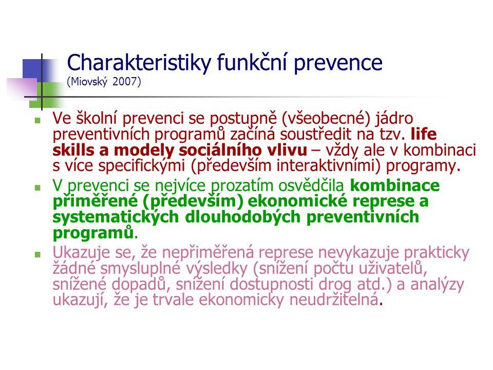 Charakteristiky funkční prevence (Miovský 2007)  Ve školní prevenci se postupně (všeobecné) jádro preventivních programů začíná soustředit na tzv.