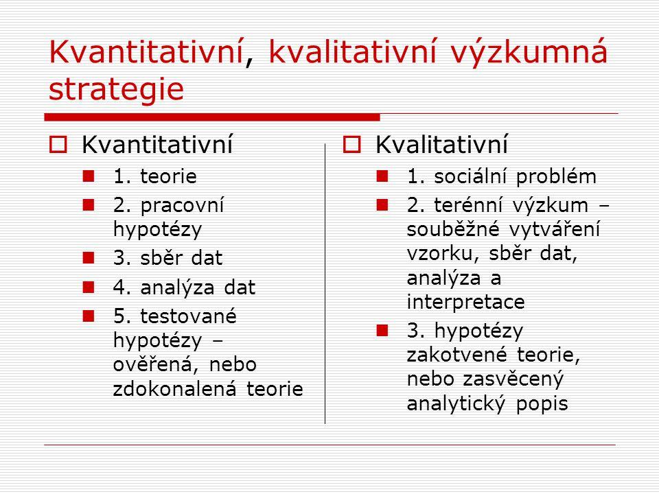 Kvantitativní, kvalitativní výzkumná strategie  Kvantitativní  1. teorie  2. pracovní hypotézy  3. sběr dat  4. analýza dat  5. testované hypoté