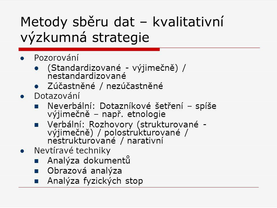 Metody sběru dat – kvalitativní výzkumná strategie  Pozorování  (Standardizované - výjimečně) / nestandardizované  Zúčastněné / nezúčastněné  Dota