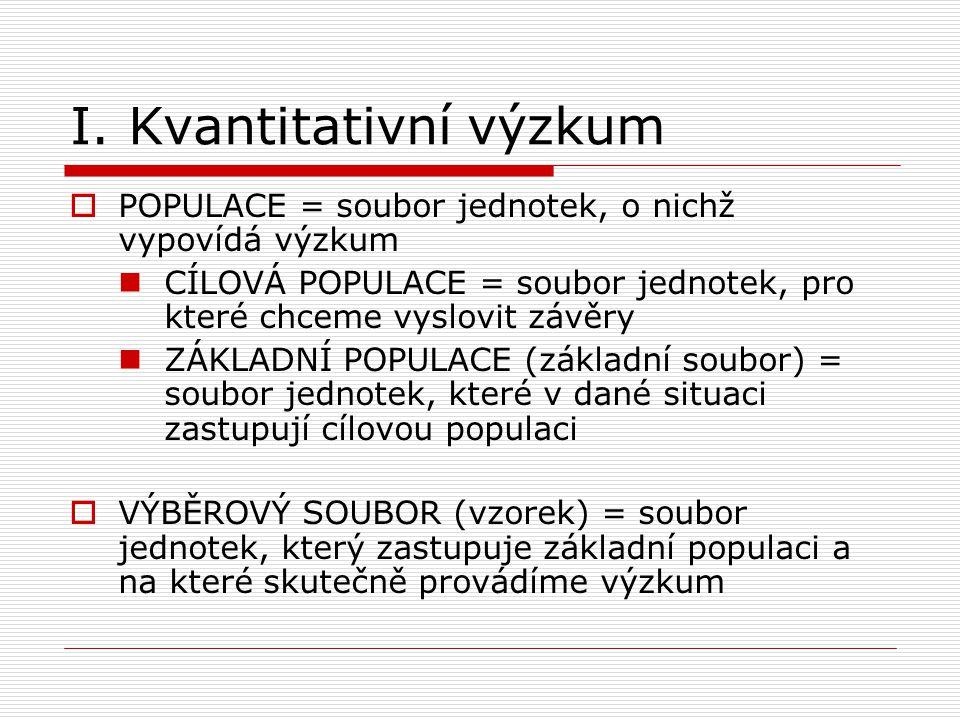 I. Kvantitativní výzkum  POPULACE = soubor jednotek, o nichž vypovídá výzkum  CÍLOVÁ POPULACE = soubor jednotek, pro které chceme vyslovit závěry 
