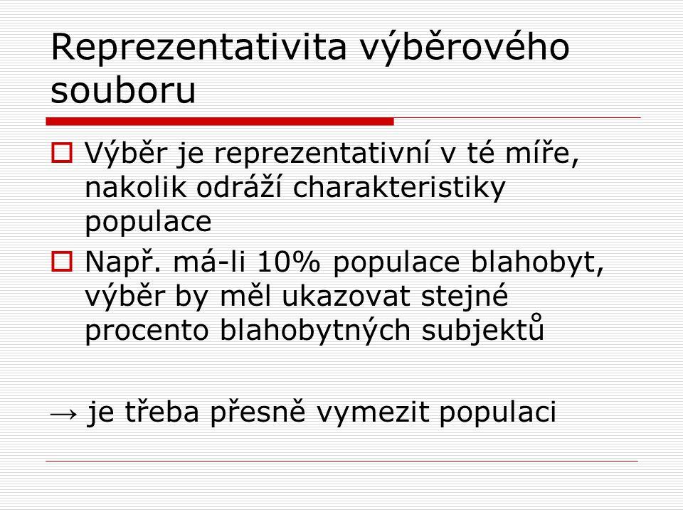 Reprezentativita výběrového souboru  Výběr je reprezentativní v té míře, nakolik odráží charakteristiky populace  Např.