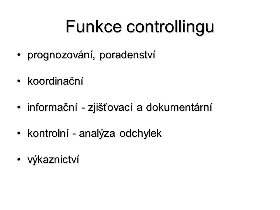 Funkce controllingu •prognozování, poradenství •koordinační •informační - zjišťovací a dokumentární •kontrolní - analýza odchylek •výkaznictví