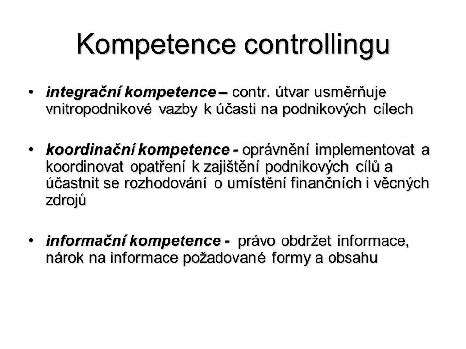 Kompetence controllingu •integrační kompetence – contr. útvar usměrňuje vnitropodnikové vazby k účasti na podnikových cílech •koordinační kompetence -