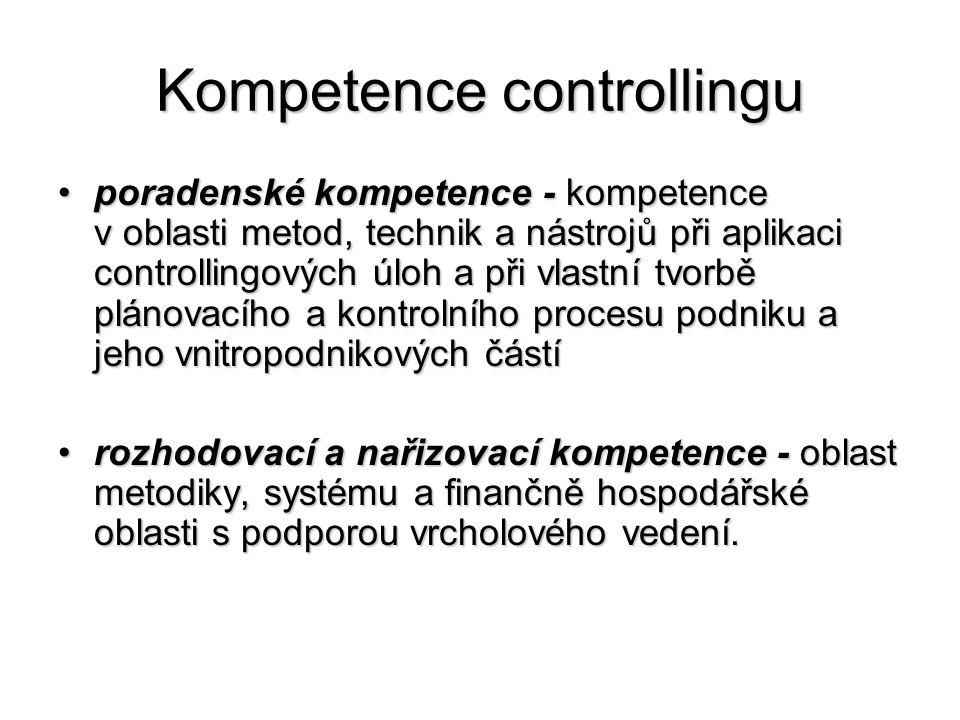 Kompetence controllingu •poradenské kompetence - kompetence v oblasti metod, technik a nástrojů při aplikaci controllingových úloh a při vlastní tvorbě plánovacího a kontrolního procesu podniku a jeho vnitropodnikových částí •rozhodovací a nařizovací kompetence - oblast metodiky, systému a finančně hospodářské oblasti s podporou vrcholového vedení.