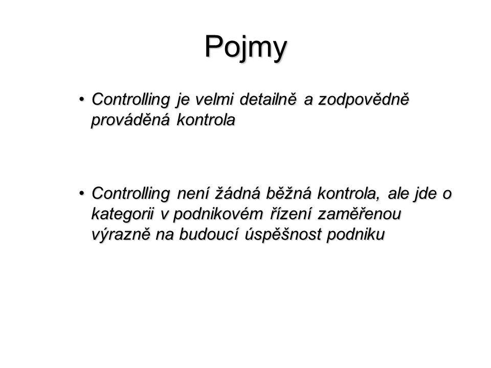 Pojmy •Controlling je velmi detailně a zodpovědně prováděná kontrola •Controlling není žádná běžná kontrola, ale jde o kategorii v podnikovém řízení zaměřenou výrazně na budoucí úspěšnost podniku