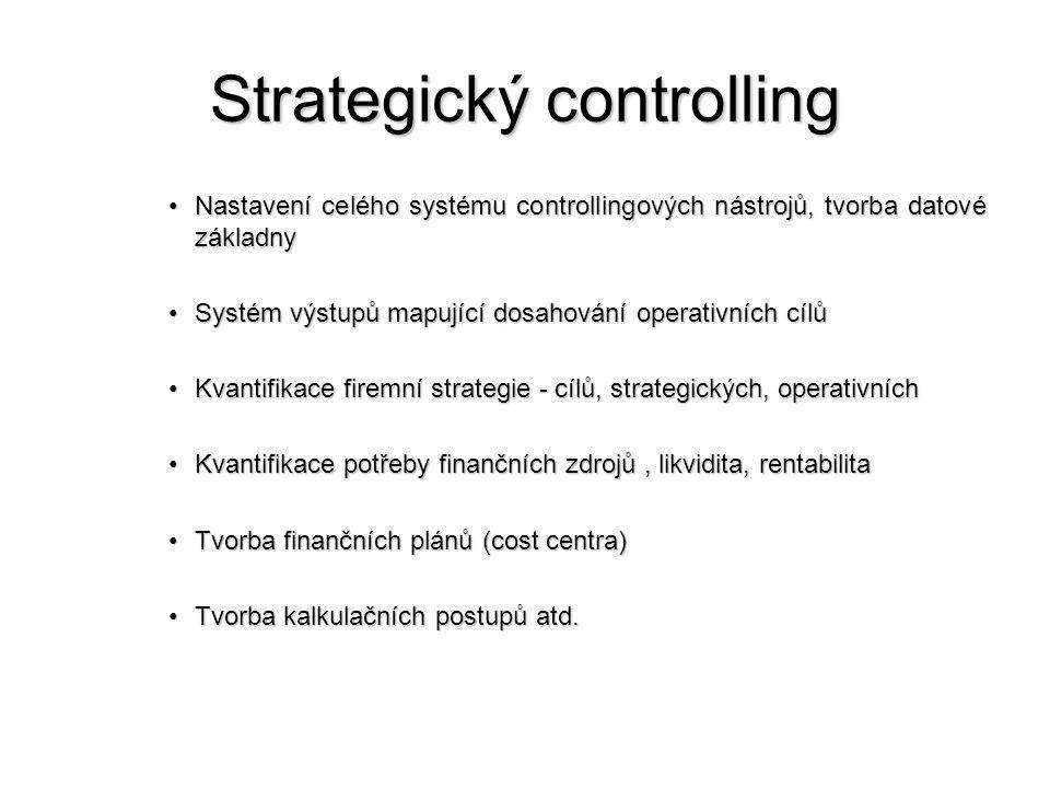 Strategický controlling •Nastavení celého systému controllingových nástrojů, tvorba datové základny •Systém výstupů mapující dosahování operativních cílů •Kvantifikace firemní strategie - cílů, strategických, operativních •Kvantifikace potřeby finančních zdrojů, likvidita, rentabilita •Tvorba finančních plánů (cost centra) •Tvorba kalkulačních postupů atd.