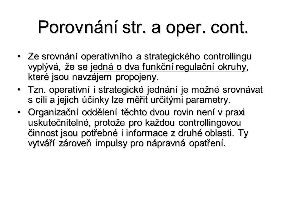 Porovnání str. a oper. cont. •Ze srovnání operativního a strategického controllingu vyplývá, že se jedná o dva funkční regulační okruhy, které jsou na
