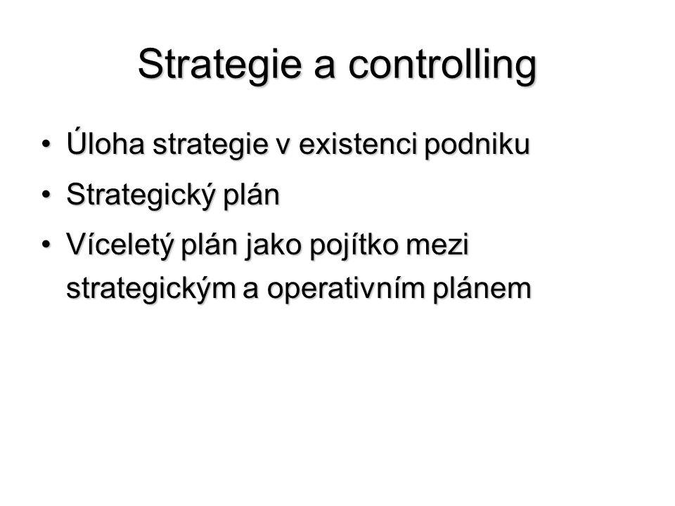 Strategie a controlling •Úloha strategie v existenci podniku •Strategický plán •Víceletý plán jako pojítko mezi strategickým a operativním plánem