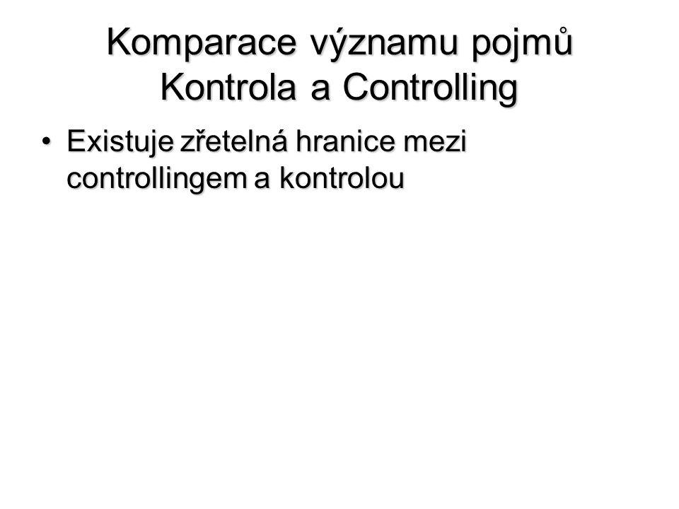 Komparace významu pojmů Kontrola a Controlling •Existuje zřetelná hranice mezi controllingem a kontrolou