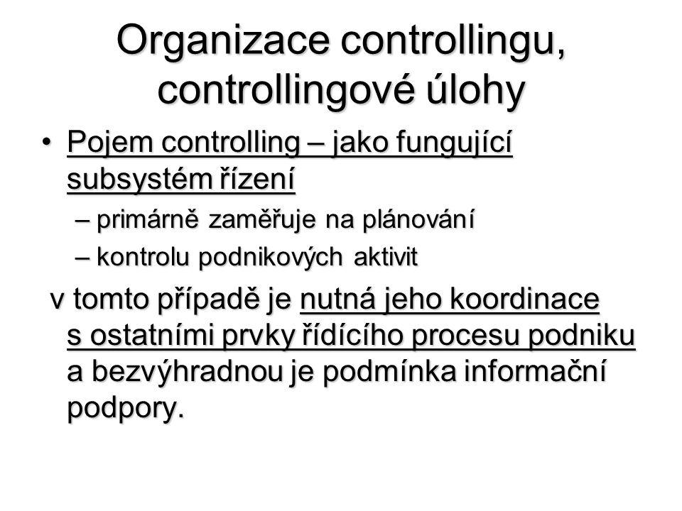 Organizace controllingu, controllingové úlohy •Pojem controlling – jako fungující subsystém řízení –primárně zaměřuje na plánování –kontrolu podnikových aktivit v tomto případě je nutná jeho koordinace s ostatními prvky řídícího procesu podniku a bezvýhradnou je podmínka informační podpory.