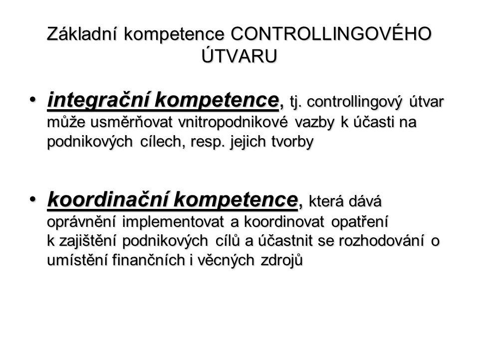 Základní kompetence CONTROLLINGOVÉHO ÚTVARU •integrační kompetence, tj. controllingový útvar může usměrňovat vnitropodnikové vazby k účasti na podniko