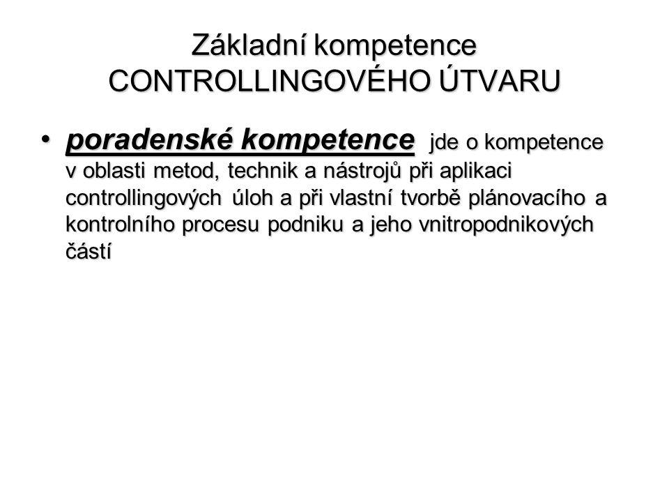 Základní kompetence CONTROLLINGOVÉHO ÚTVARU •poradenské kompetence jde o kompetence v oblasti metod, technik a nástrojů při aplikaci controllingových