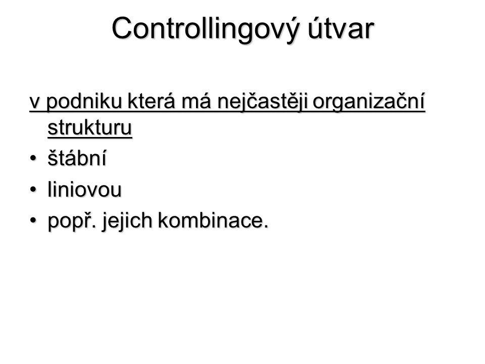 Controllingový útvar v podniku která má nejčastěji organizační strukturu •štábní •liniovou •popř. jejich kombinace.