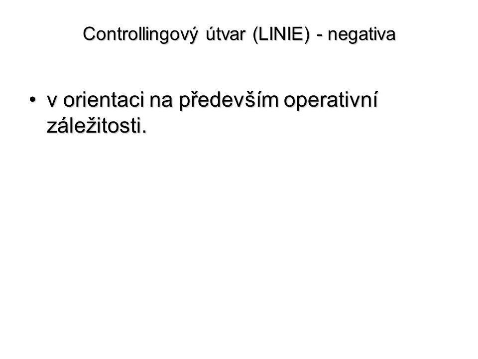 Controllingový útvar (LINIE) - negativa •v orientaci na především operativní záležitosti.