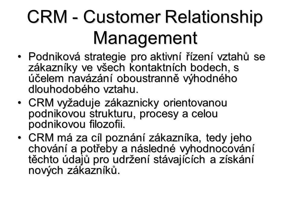 CRM - Customer Relationship Management •Podniková strategie pro aktivní řízení vztahů se zákazníky ve všech kontaktních bodech, s účelem navázání oboustranně výhodného dlouhodobého vztahu.