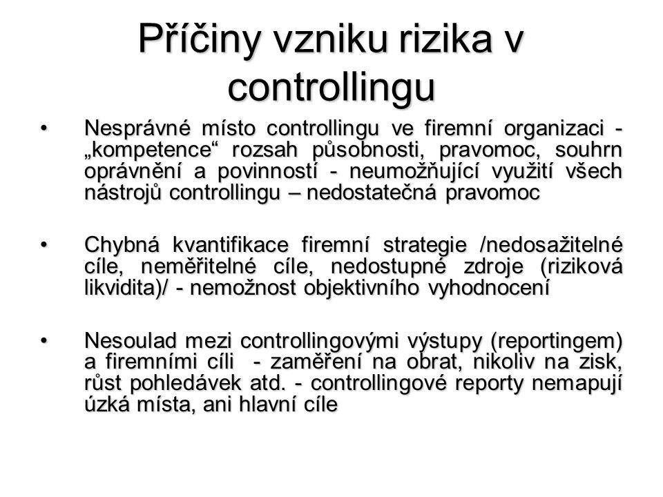 """Příčiny vzniku rizika v controllingu •Nesprávné místo controllingu ve firemní organizaci - """"kompetence rozsah působnosti, pravomoc, souhrn oprávnění a povinností - neumožňující využití všech nástrojů controllingu – nedostatečná pravomoc •Chybná kvantifikace firemní strategie /nedosažitelné cíle, neměřitelné cíle, nedostupné zdroje (riziková likvidita)/ - nemožnost objektivního vyhodnocení •Nesoulad mezi controllingovými výstupy (reportingem) a firemními cíli - zaměření na obrat, nikoliv na zisk, růst pohledávek atd."""