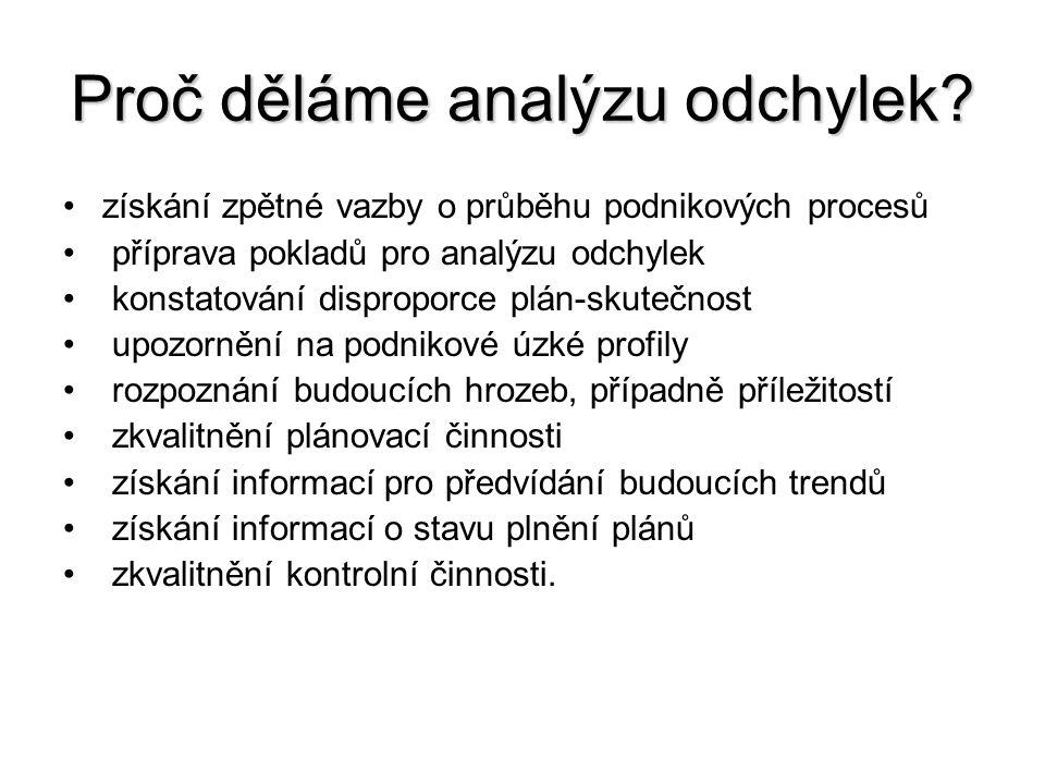 Proč děláme analýzu odchylek? •získání zpětné vazby o průběhu podnikových procesů • příprava pokladů pro analýzu odchylek • konstatování disproporce p