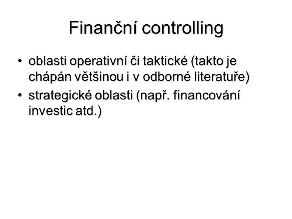 Finanční controlling •oblasti operativní či taktické (takto je chápán většinou i v odborné literatuře) •strategické oblasti (např. financování investi