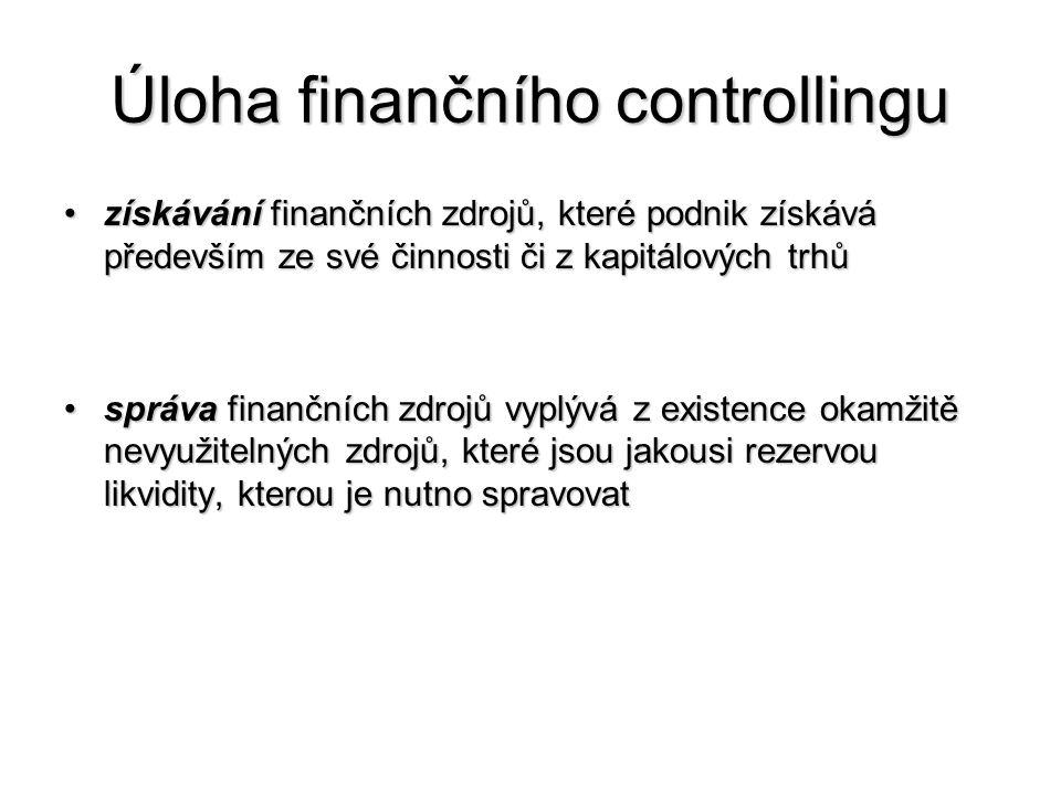 Úloha finančního controllingu •získávání finančních zdrojů, které podnik získává především ze své činnosti či z kapitálových trhů •správa finančních zdrojů vyplývá z existence okamžitě nevyužitelných zdrojů, které jsou jakousi rezervou likvidity, kterou je nutno spravovat