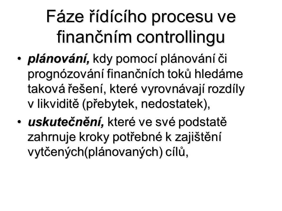 Fáze řídícího procesu ve finančním controllingu •plánování, kdy pomocí plánování či prognózování finančních toků hledáme taková řešení, které vyrovnávají rozdíly v likviditě (přebytek, nedostatek), •uskutečnění, které ve své podstatě zahrnuje kroky potřebné k zajištění vytčených(plánovaných) cílů,