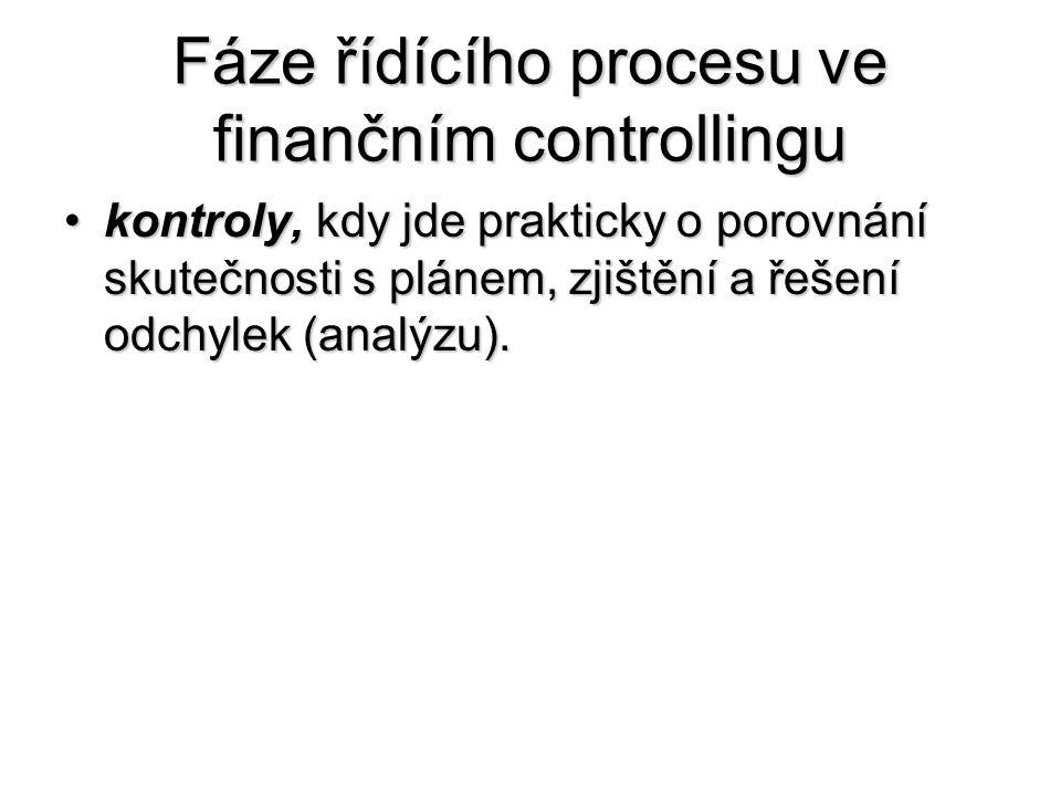 Fáze řídícího procesu ve finančním controllingu •kontroly, kdy jde prakticky o porovnání skutečnosti s plánem, zjištění a řešení odchylek (analýzu).