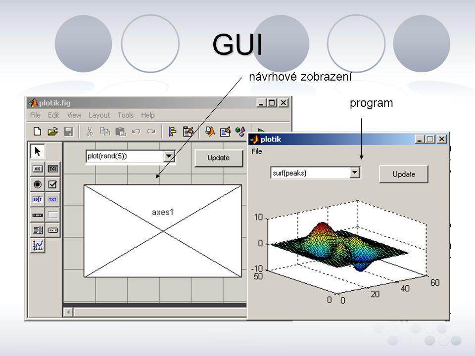 GUI - v m-file - užití příkazu uicontrol, který definuje vlastnosti grafických objektů - typické vlastnosti objektů units, position, style, string, value, fontsize, fontweight, foregroundcolor, callback, tag ….