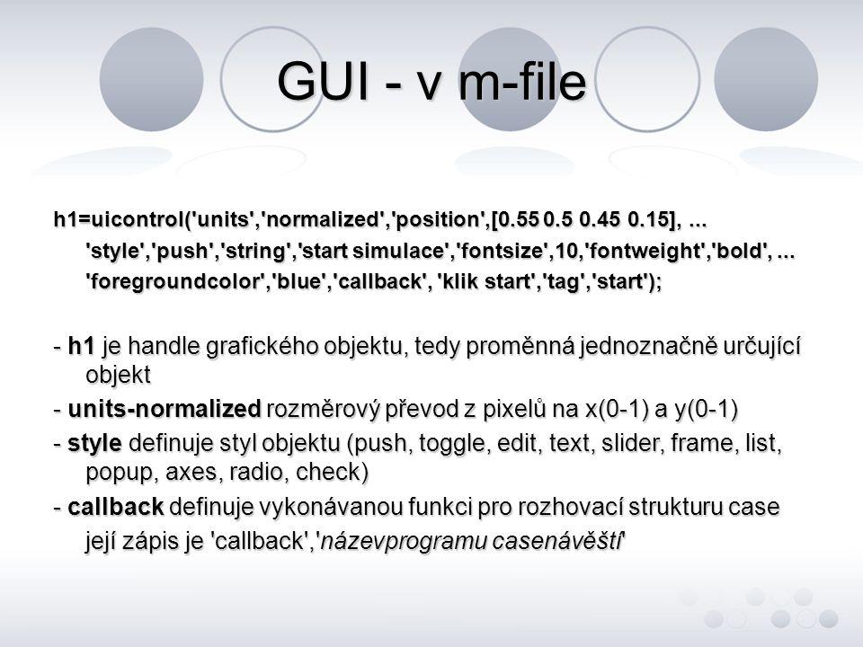GUI - v m-file h1=uicontrol( units , normalized , position ,[0.55 0.5 0.45 0.15],...