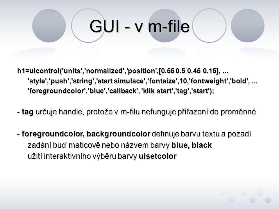 GUI - v m-file - pokud máme vytvořené objekty v kreslícím plátně figura, lze v programu měnit jakoukoli jejich vlastnost, měněné vlastnosti jsou např.