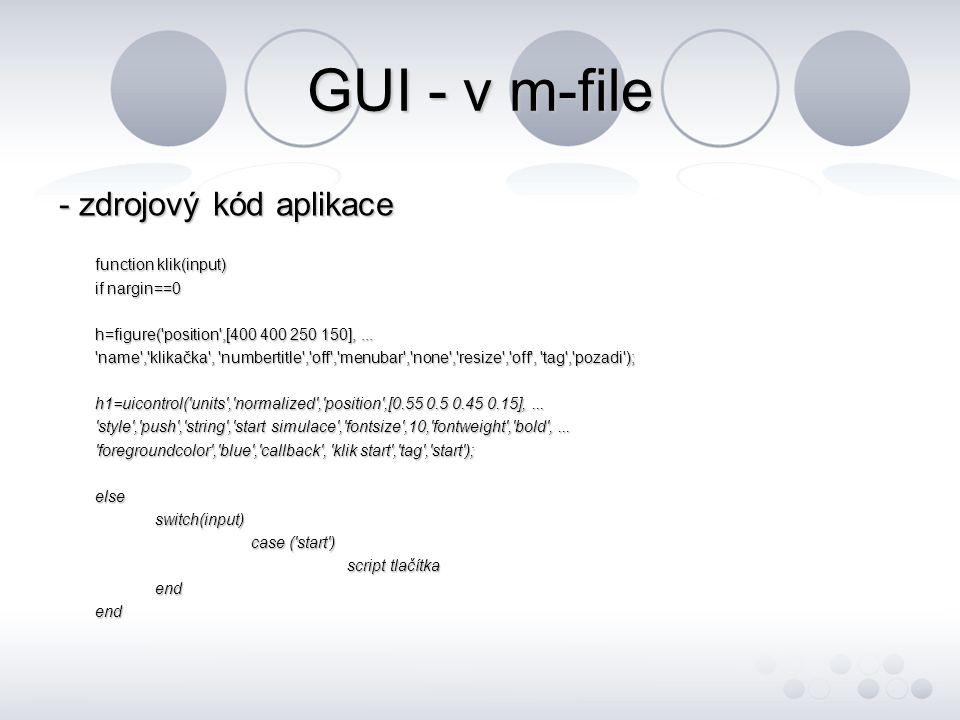GUI a Simulink - využití možnosti nastavení a ovládání modelu z grafické aplikace GUI - export parametrů, ovládání v real time - nastavení start a stop time simulace pro určité aplikace v rámci jednoho modelu