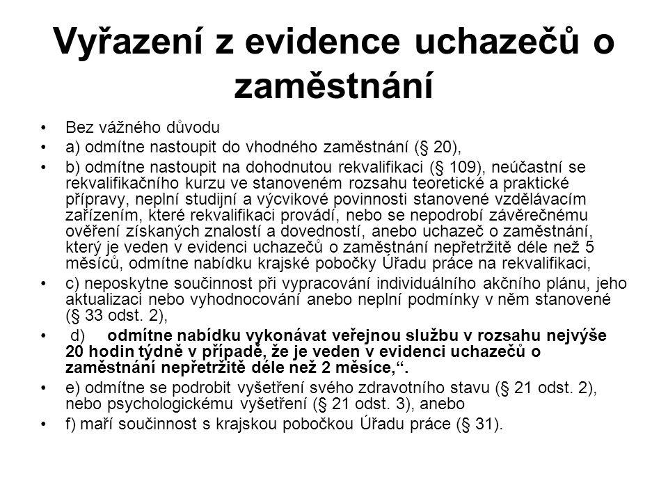 Vyřazení z evidence uchazečů o zaměstnání •Bez vážného důvodu •a) odmítne nastoupit do vhodného zaměstnání (§ 20), •b) odmítne nastoupit na dohodnutou