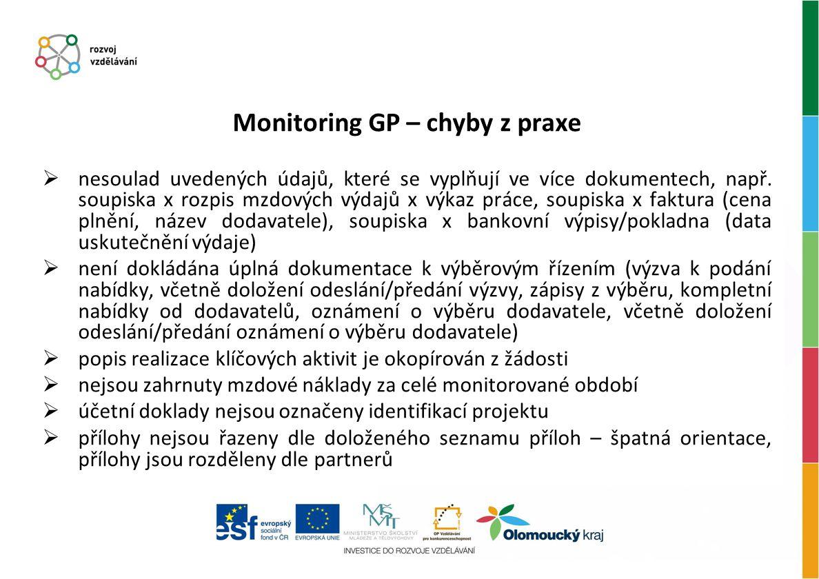 Monitoring GP – chyby z praxe  nesoulad uvedených údajů, které se vyplňují ve více dokumentech, např. soupiska x rozpis mzdových výdajů x výkaz práce