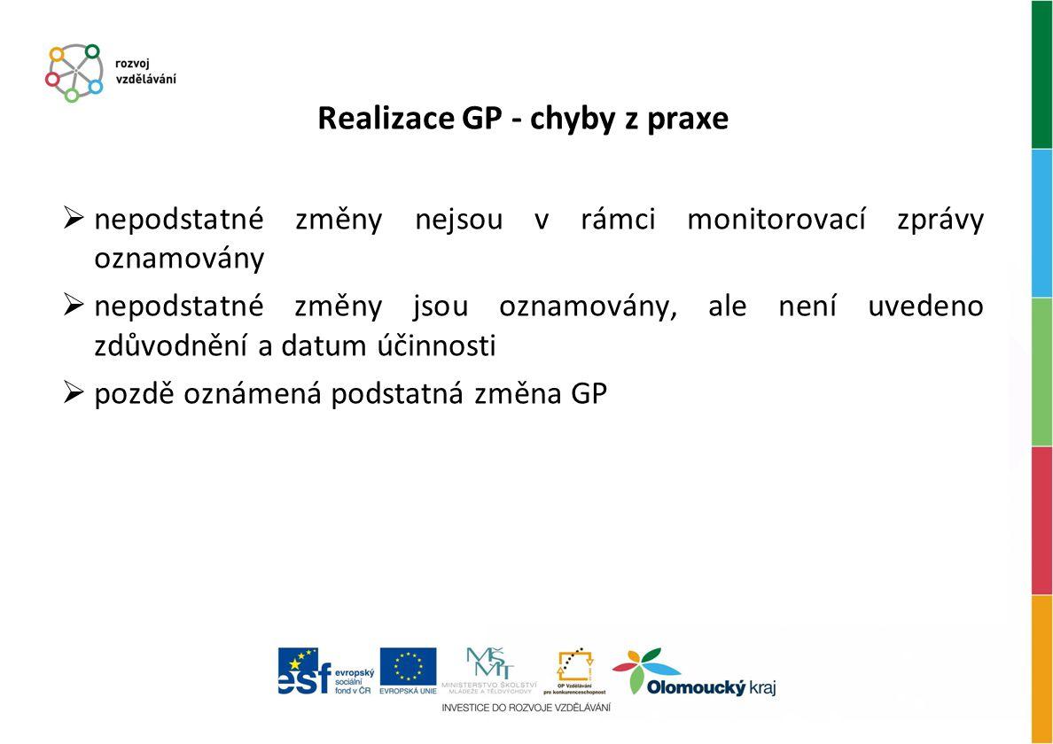 Realizace GP - chyby z praxe  nepodstatné změny nejsou v rámci monitorovací zprávy oznamovány  nepodstatné změny jsou oznamovány, ale není uvedeno z