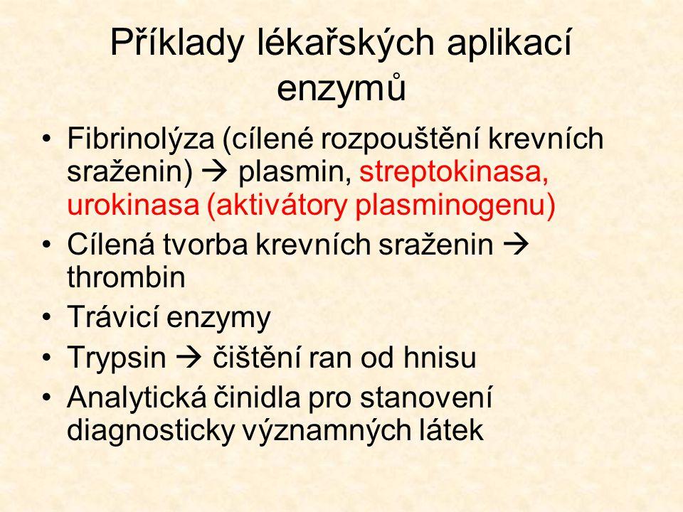 Příklady lékařských aplikací enzymů •Fibrinolýza (cílené rozpouštění krevních sraženin)  plasmin, streptokinasa, urokinasa (aktivátory plasminogenu)