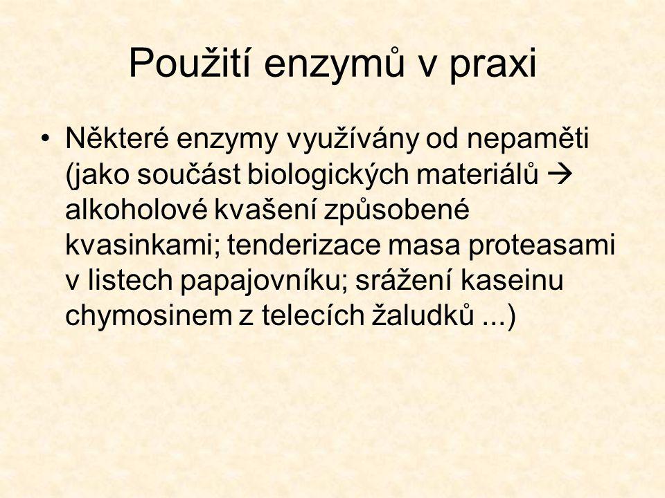 Použití enzymů v praxi •Pro průmyslové využití je nutno mít k dispozici dostatečné množství enzymu  nejvhodnější zdroj jsou mikroorganismy •Důležité rostlinné enzymy  papain, bromelain, ficin •Důležité živočišné enzymy  trypsin, chymotrypsin, chymosin, papain, amylasy, lipasy