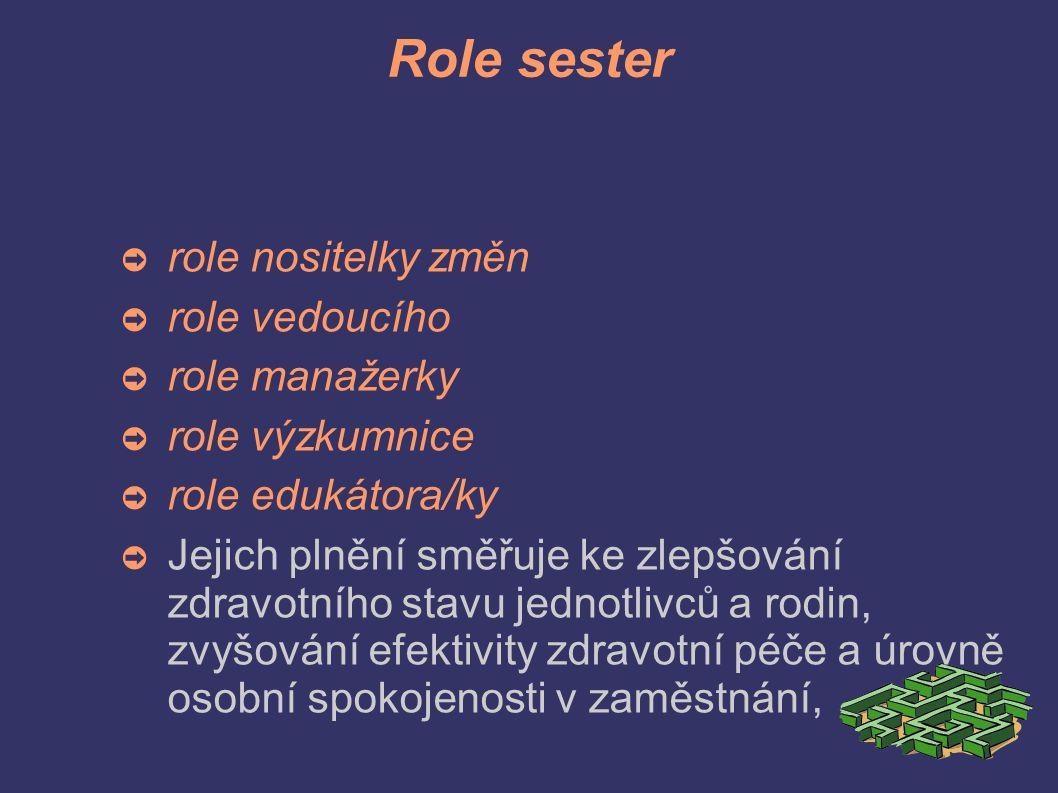 Role sester ➲ role nositelky změn ➲ role vedoucího ➲ role manažerky ➲ role výzkumnice ➲ role edukátora/ky ➲ Jejich plnění směřuje ke zlepšování zdravotního stavu jednotlivců a rodin, zvyšování efektivity zdravotní péče a úrovně osobní spokojenosti v zaměstnání,