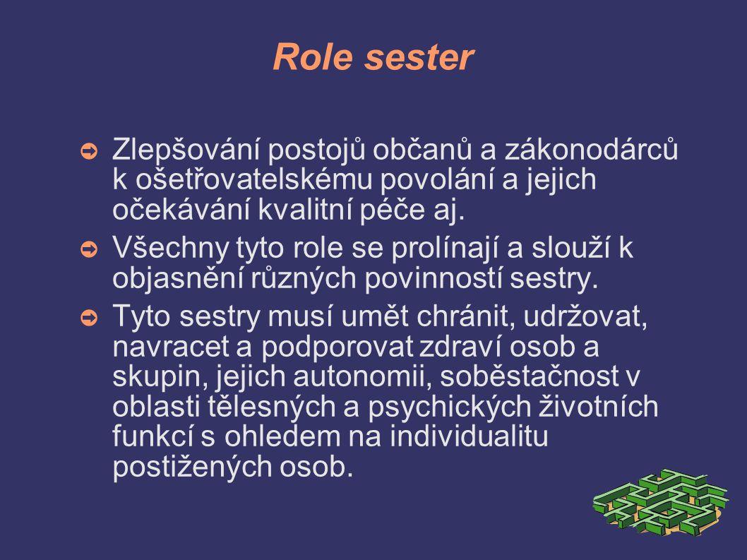Role sester ➲ Zlepšování postojů občanů a zákonodárců k ošetřovatelskému povolání a jejich očekávání kvalitní péče aj.