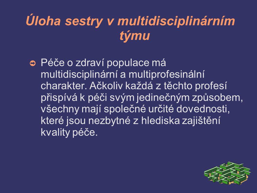 Úloha sestry v multidisciplinárním týmu ➲ Péče o zdraví populace má multidisciplinární a multiprofesinální charakter.