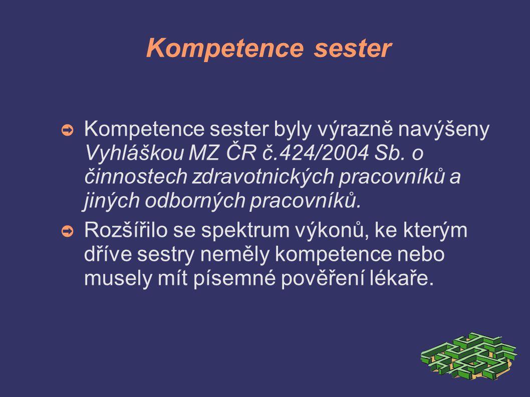 Kompetence sester ➲ Kompetence sester byly výrazně navýšeny Vyhláškou MZ ČR č.424/2004 Sb.