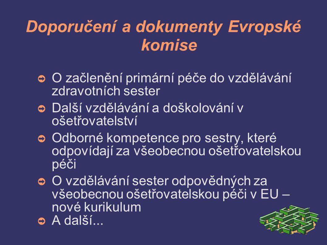 Doporučení a dokumenty Evropské komise ➲ O začlenění primární péče do vzdělávání zdravotních sester ➲ Další vzdělávání a doškolování v ošetřovatelství ➲ Odborné kompetence pro sestry, které odpovídají za všeobecnou ošetřovatelskou péči ➲ O vzdělávání sester odpovědných za všeobecnou ošetřovatelskou péči v EU – nové kurikulum ➲ A další...