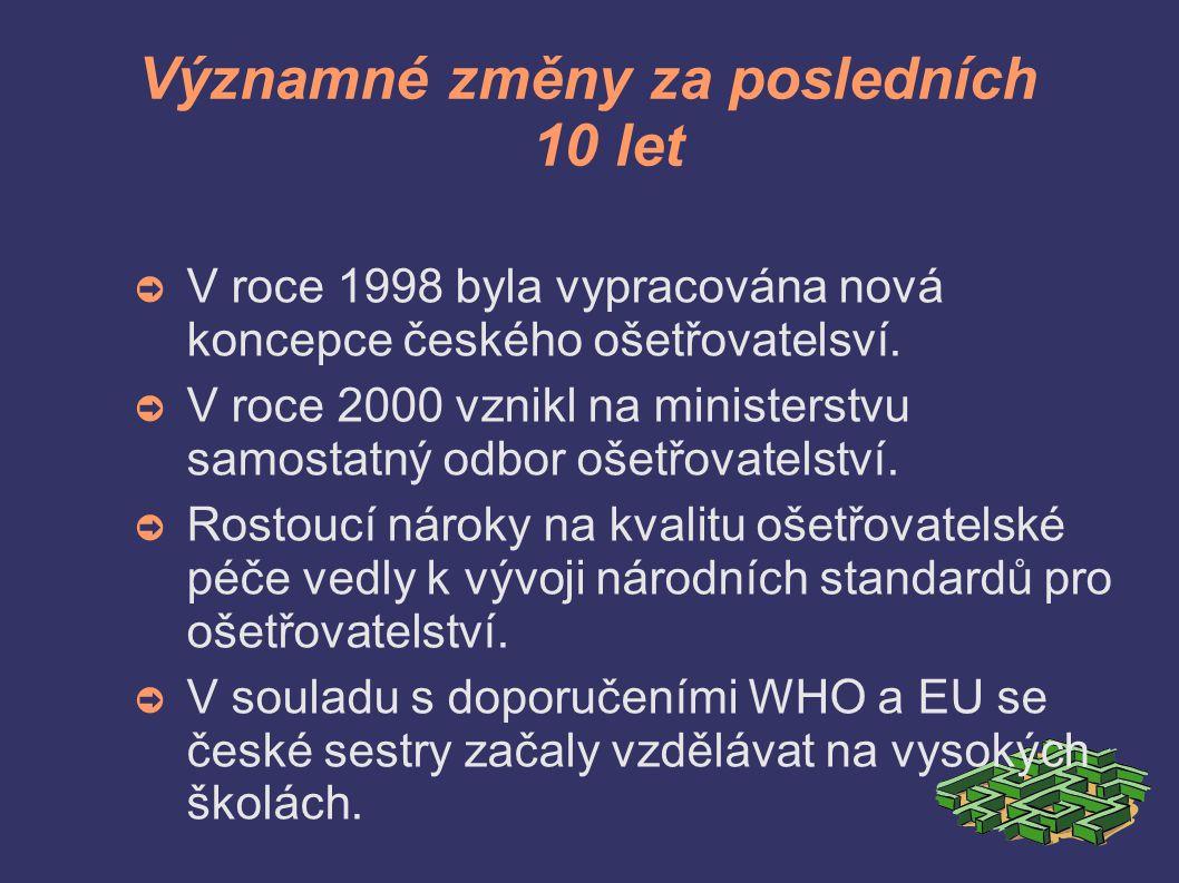 Významné změny za posledních 10 let ➲ V roce 1998 byla vypracována nová koncepce českého ošetřovatelsví.