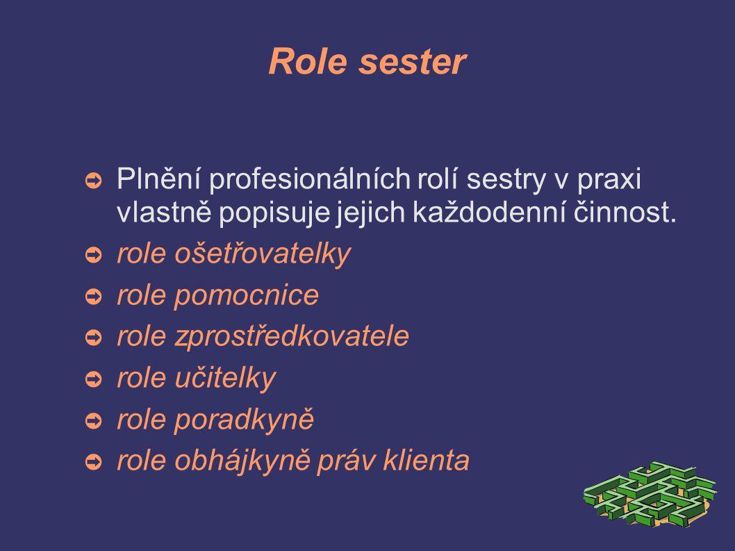 Role sester ➲ Plnění profesionálních rolí sestry v praxi vlastně popisuje jejich každodenní činnost.