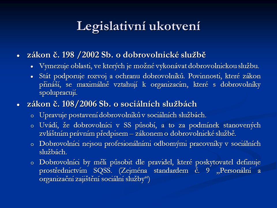 Legislativní ukotvení  zákon č. 198 /2002 Sb. o dobrovolnické službě  Vymezuje oblasti, ve kterých je možné vykonávat dobrovolnickou službu.  Stát